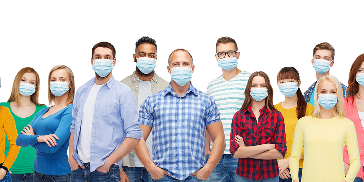 health, safety and pandemic concept - group of people wearing protective medical masks for protection from virus Schlagwort(e): people, mask, protective, virus, pandemic, epidemic, health, safety, viral, disease, respiratory, influenza, medical, facial, protection, flu, healthcare, infection, hygienic, flue, grippe, illness, sickness, person, young, woman, man, group, international, concept, adult, different, ethnicity, diverse, race, decent, gender, together, many, multiethnic, multiracial, black, african, african american, indian, crowd, isolated, white