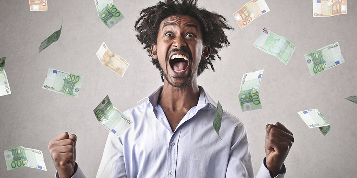 scream, shout, man, success, win, winner, jubilate, glory, surprise, joy, happy, happiness, smile, laugh, black, african, business, work, triumph, bank, note, banknote, exult, earn, money, euro, bill, face, expression, rich, target, goal, beard, background, young